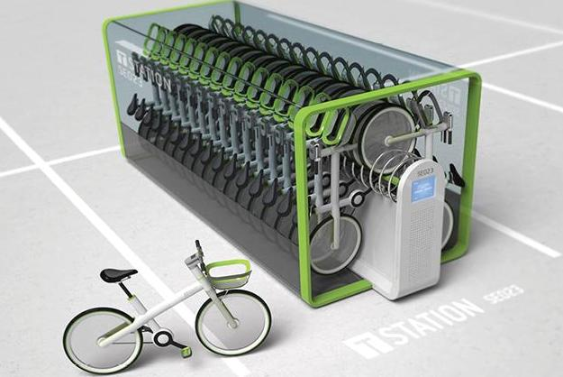 Bike Sharing Vending Machine Fits 32 Bikes In The Equivalent Of 1 Parking Spot |