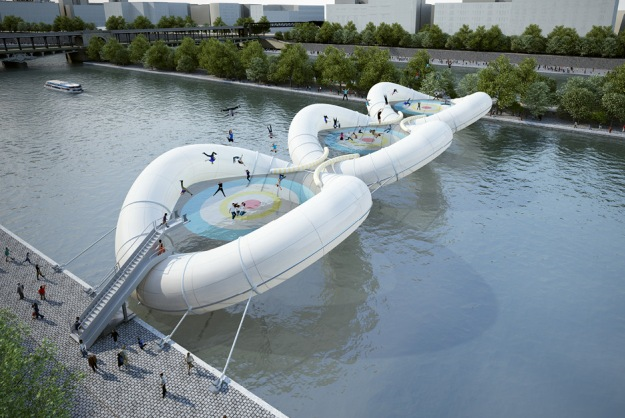 Cross Over The Seine On An Inflatable Trampoline Bridge