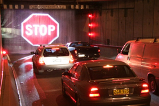 Light-Projected Stop Sign Materializes In Mid-Air