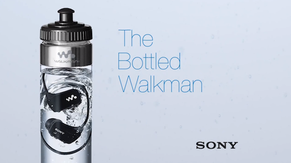 Sony Sells Their Waterproof MP3 Player Inside A Bottle Of Water [Video] |