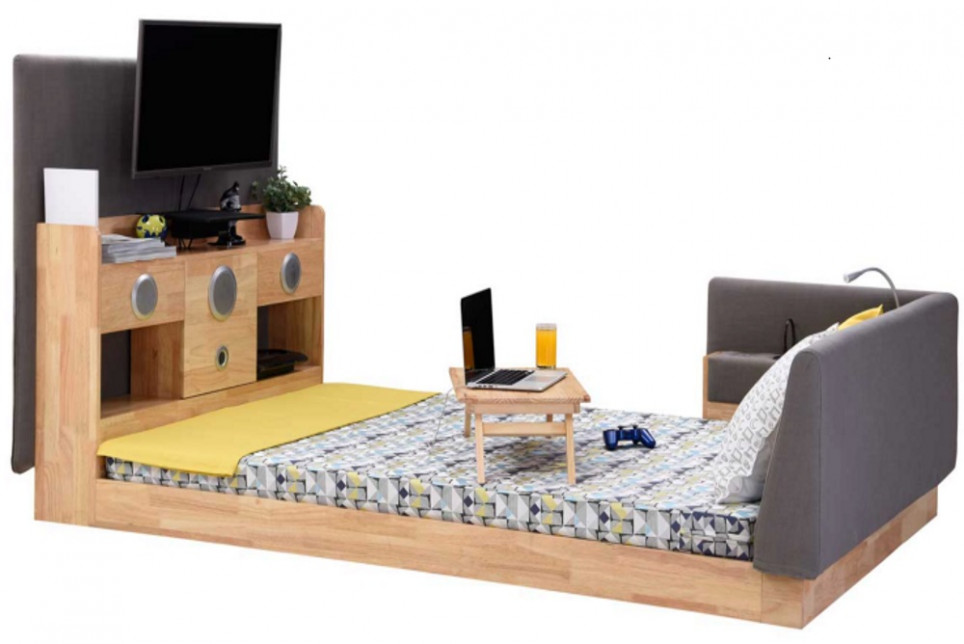 Bed Designed With A Built-In Subwoofer, TV, Lamp And Power Outlets