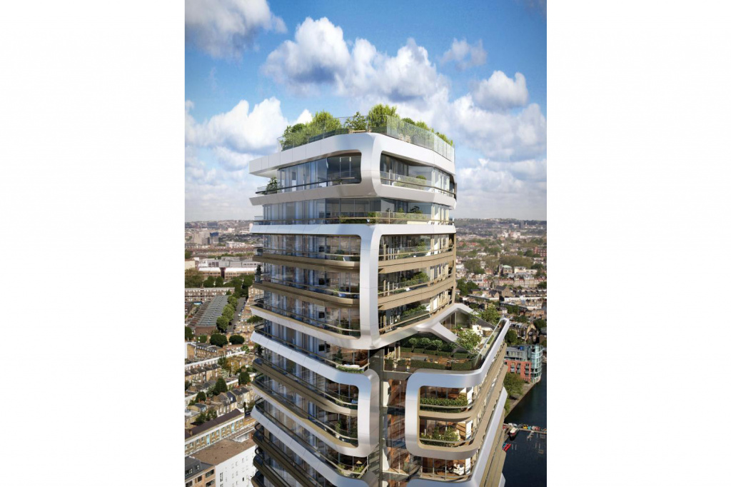 The 31-storey Canaletto residential tower, its curving exterior frames designed to create 'distinctive vertical neighbourhoods.'
