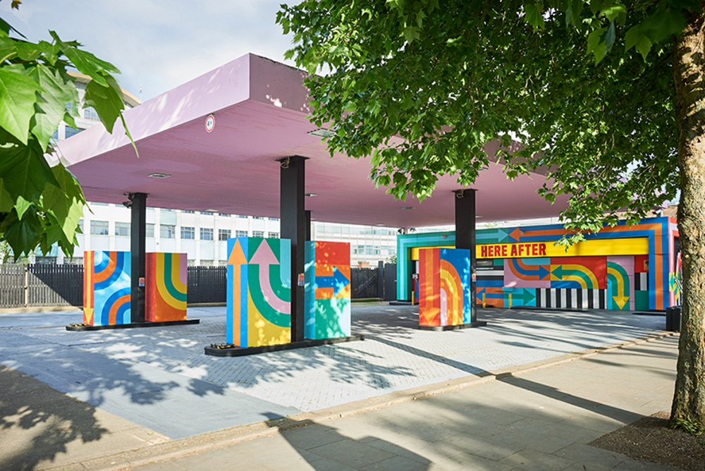 Old Gas Station Gets A Second Life As A Bright Event Pop-Up Space