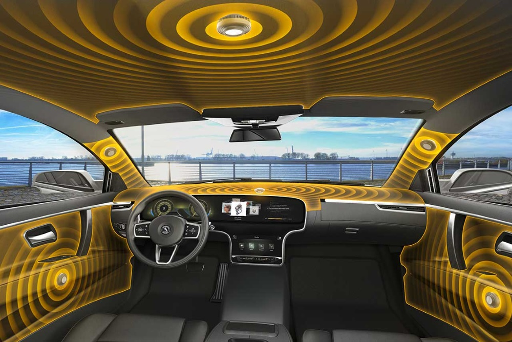 In-Car Audio System Uses Interior Surfaces As Speakers