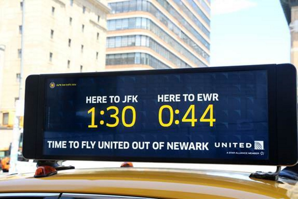 United Airlines Taxi Ads Show Passersby Live Travel Times To The Airport