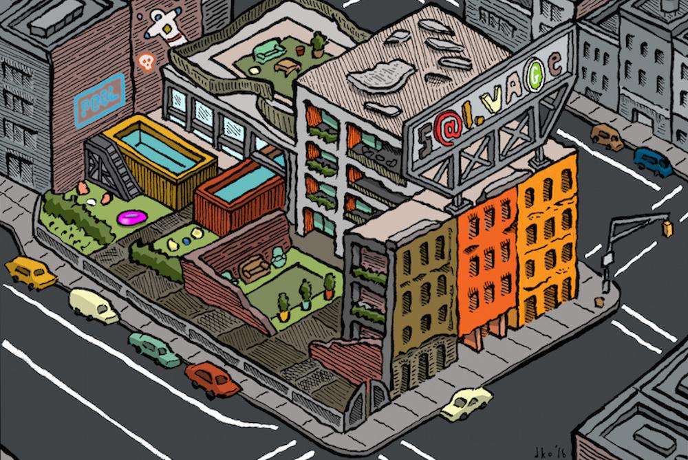 Illustrator Humorously Critiques Brooklyn Condo Architecture Trends
