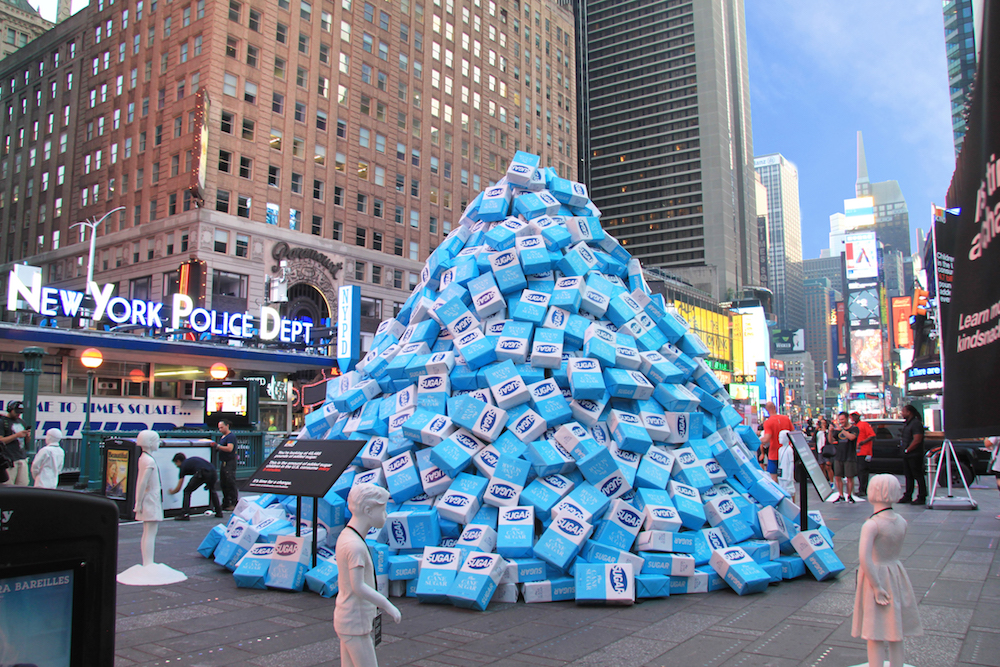 KIND Highlights How Much Sugar Kids Eat In Times Square Art Installation