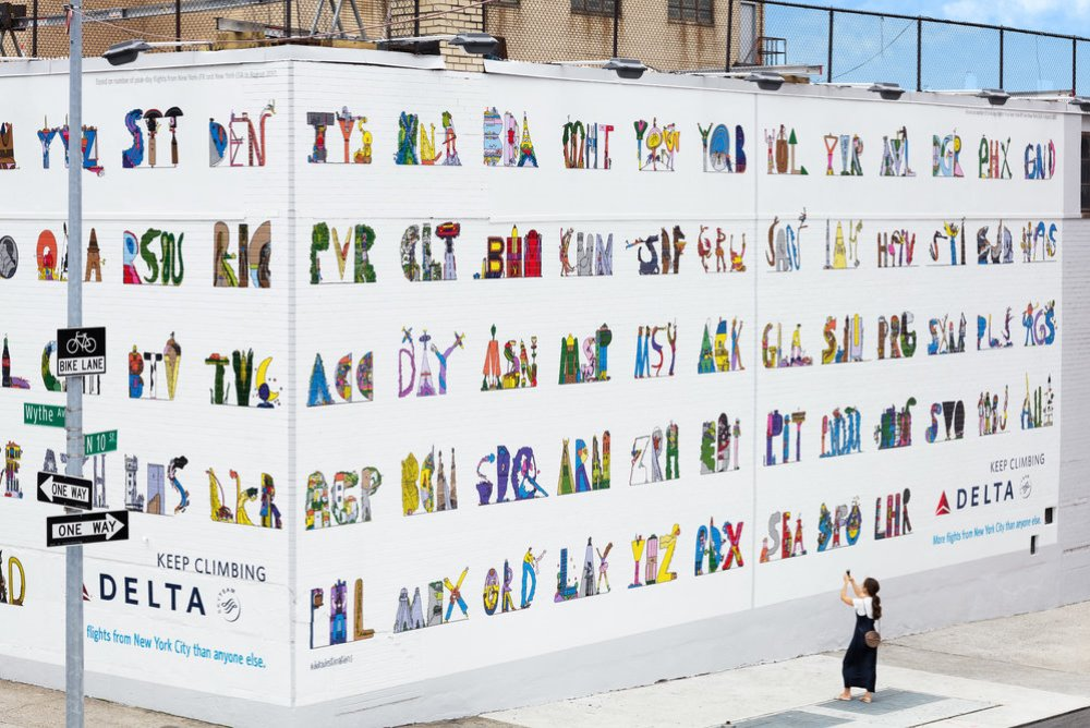 Delta Campaign Artfully Reimagines 133 Airport Codes On A Wall In Brooklyn