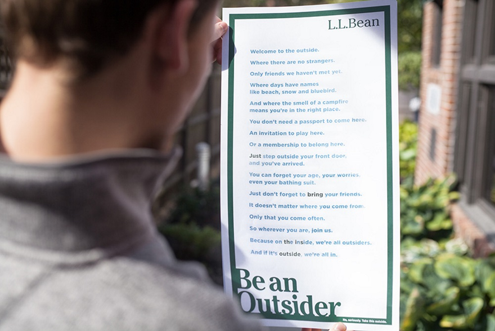 L.L.Bean's Newspaper Ad Can Only Be Read Outdoors
