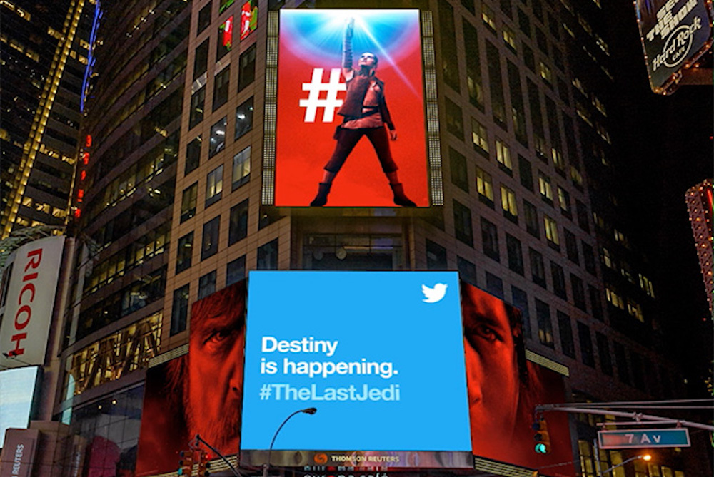 Twitter Billboard Ads Broadcast Live Hype About The New Star Wars Movie
