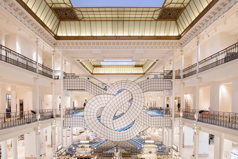 Artist Creates An Illusionary Display At French Department Store