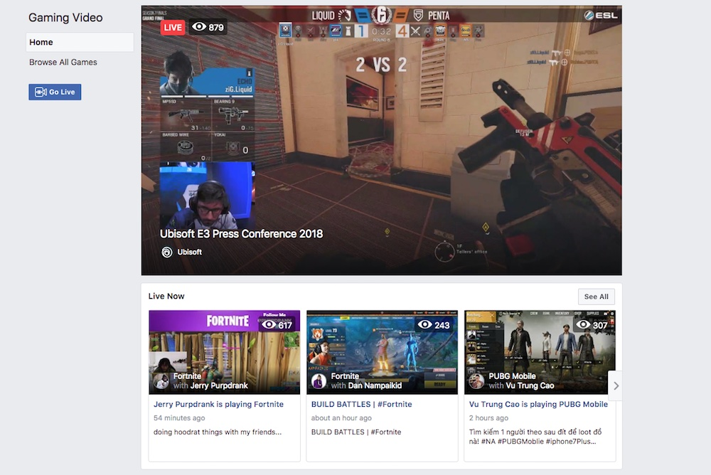 Facebook Introduces Video Streaming Hub For Gamers