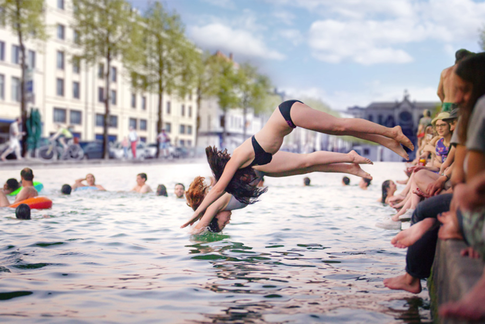 Pop-Up Swimming Pools Convert Urban Areas Into Water Playgrounds