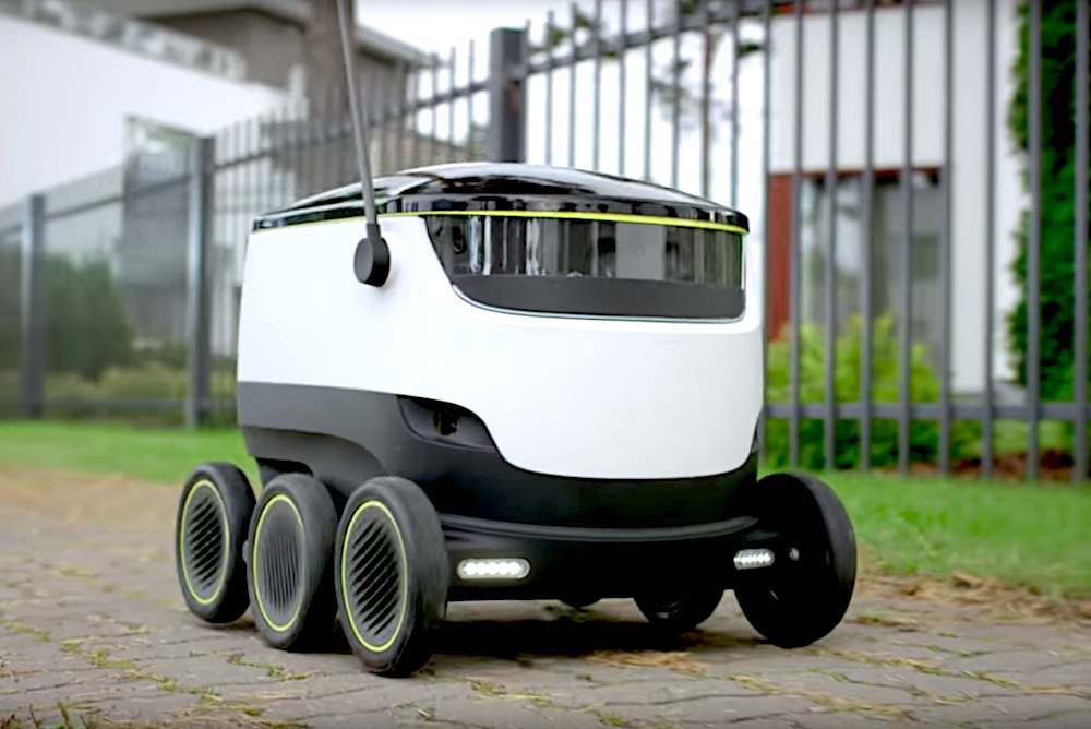 Robot Delivery Service Drives Packages To Customers' Current Location