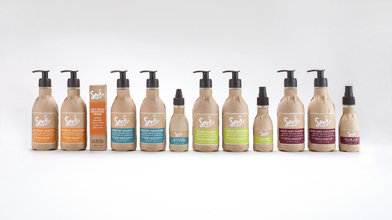Shampoos and conditioners with cardboard containers from the brand Seed Phytonutrients